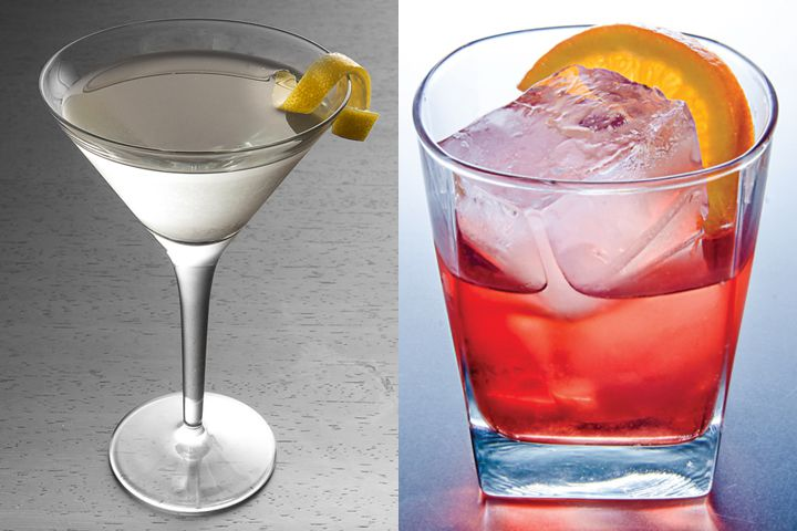 A photo of a Martini with a twist next to a photo of a Negroni