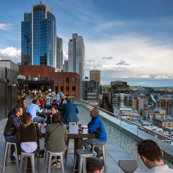 The open-air Nest at Thompson Seattle rooftop bar