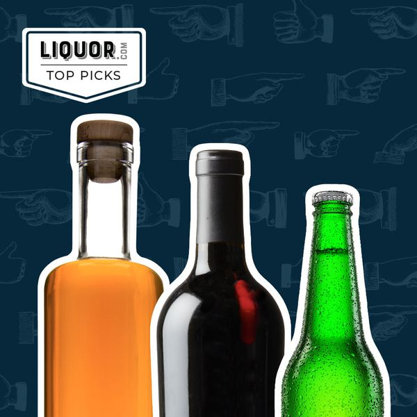 Photo composite of a liquor, wine, and beer bottle.