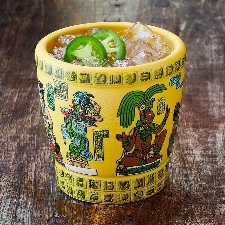 Mayan Heat Cocktail on Princess Cruises served in a glass with Mayan iconography around the glass