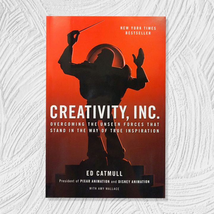 Creativity, Inc. cover with red gradient background and the shadowy silhouette of Buzz Lightyear as a music conductor. White all-caps sans serif text overlaid