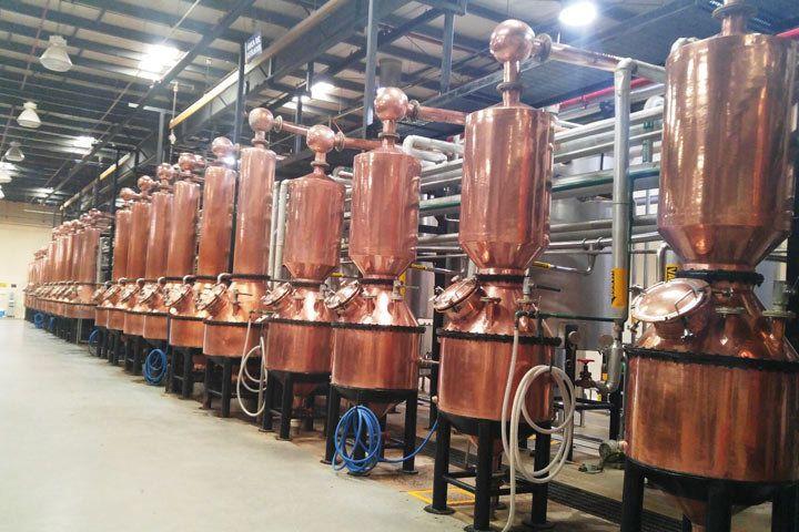 A lineup of copper stills at the Patrón distillery