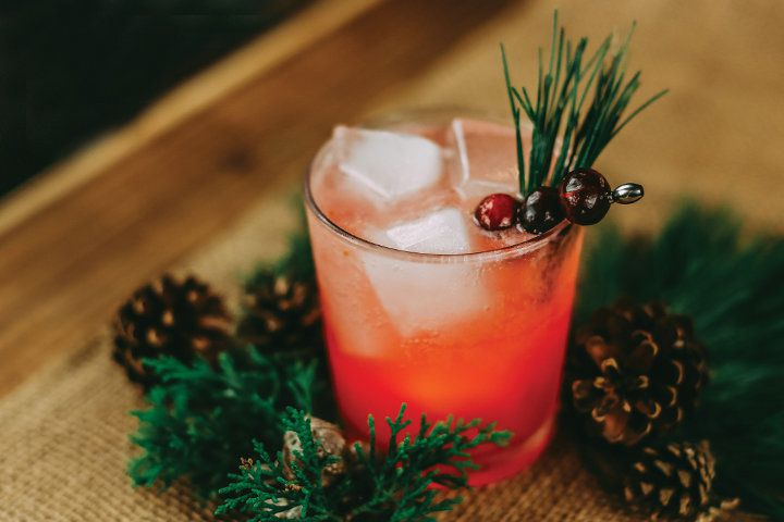 Drink with holiday garnishes