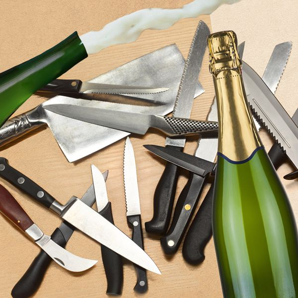 Photo of knives and Champagne bottles
