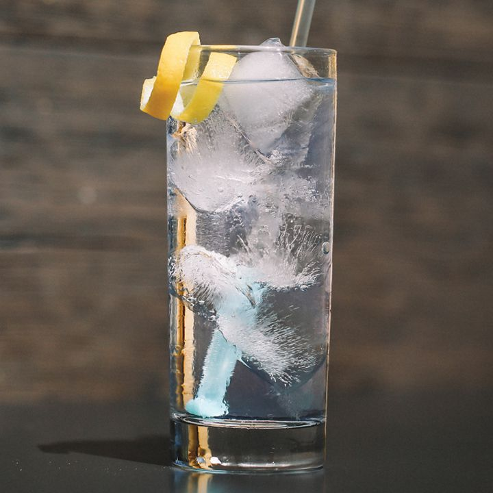vodka tonic cocktail in a collins glass with a lemon twist and straw