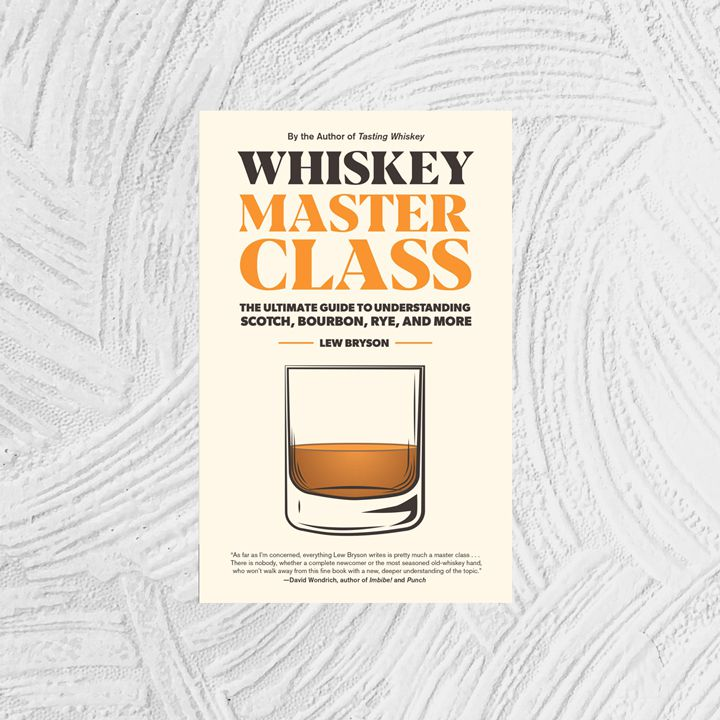Whiskey Master Class cover, light peach with bold black and orange title text above an illustration of a lowball glass with whiskey in it
