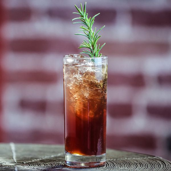 A large sprig of rosemary rises dramatically from a modest-sized collins glass filled with ice and a ruby red drink. Behind it, a brick wall is out of focus.