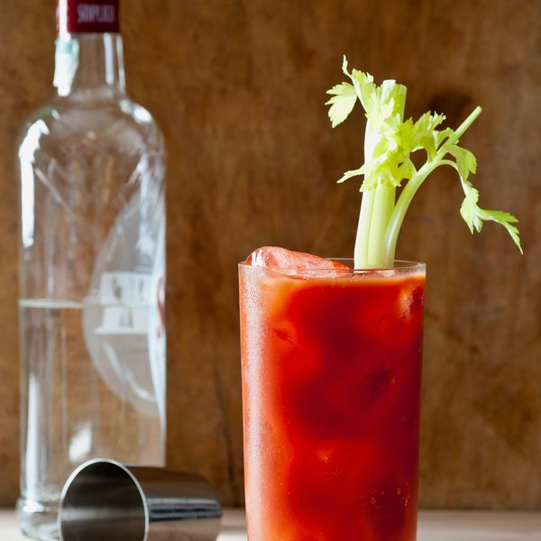Bloody Mary with vodka bottle