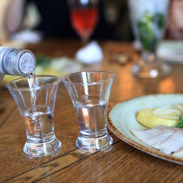 vodka pouring into shot glass