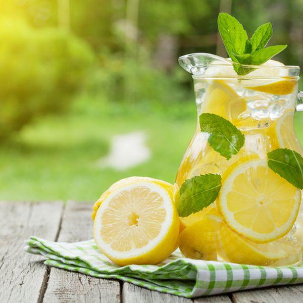 Lemonade in a pitcher.