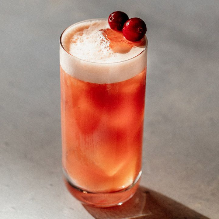red-hued Pimm's Fizz cocktail in a collins glass, with a frothy white head and two cranberries as garnish