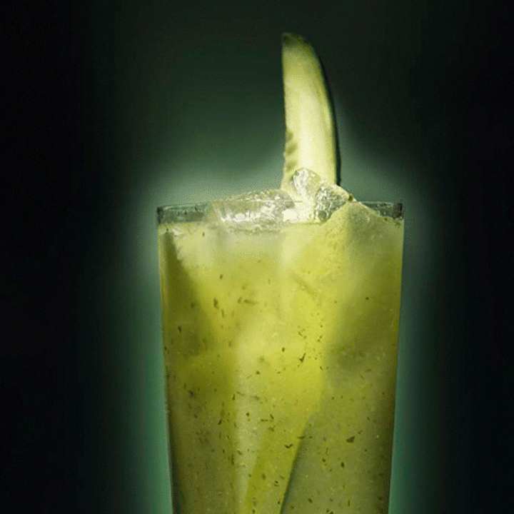 cucumber and rose collins cocktail