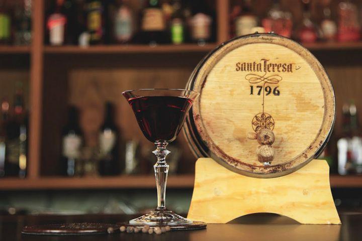 Cocktail made with barrel-aged Santa Teresa 1796 rum using fermentation at Mother