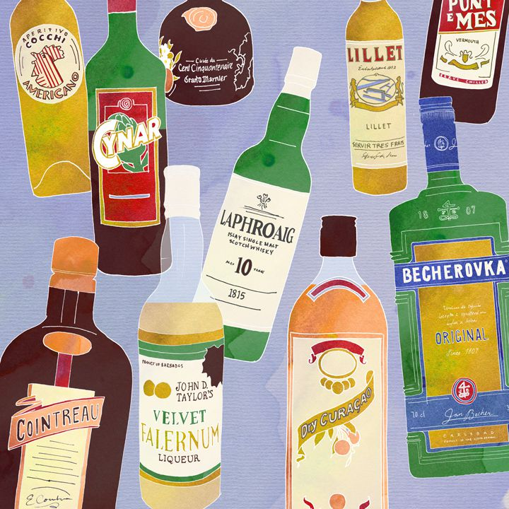 liquor bottles illustration