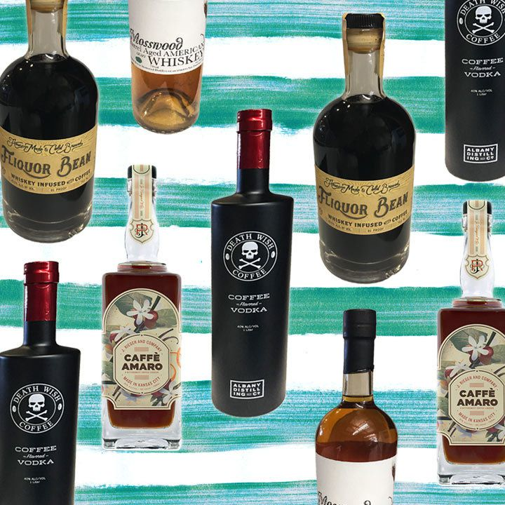 a collage of coffee-infused spirits bottles on a sea-green and white striped background