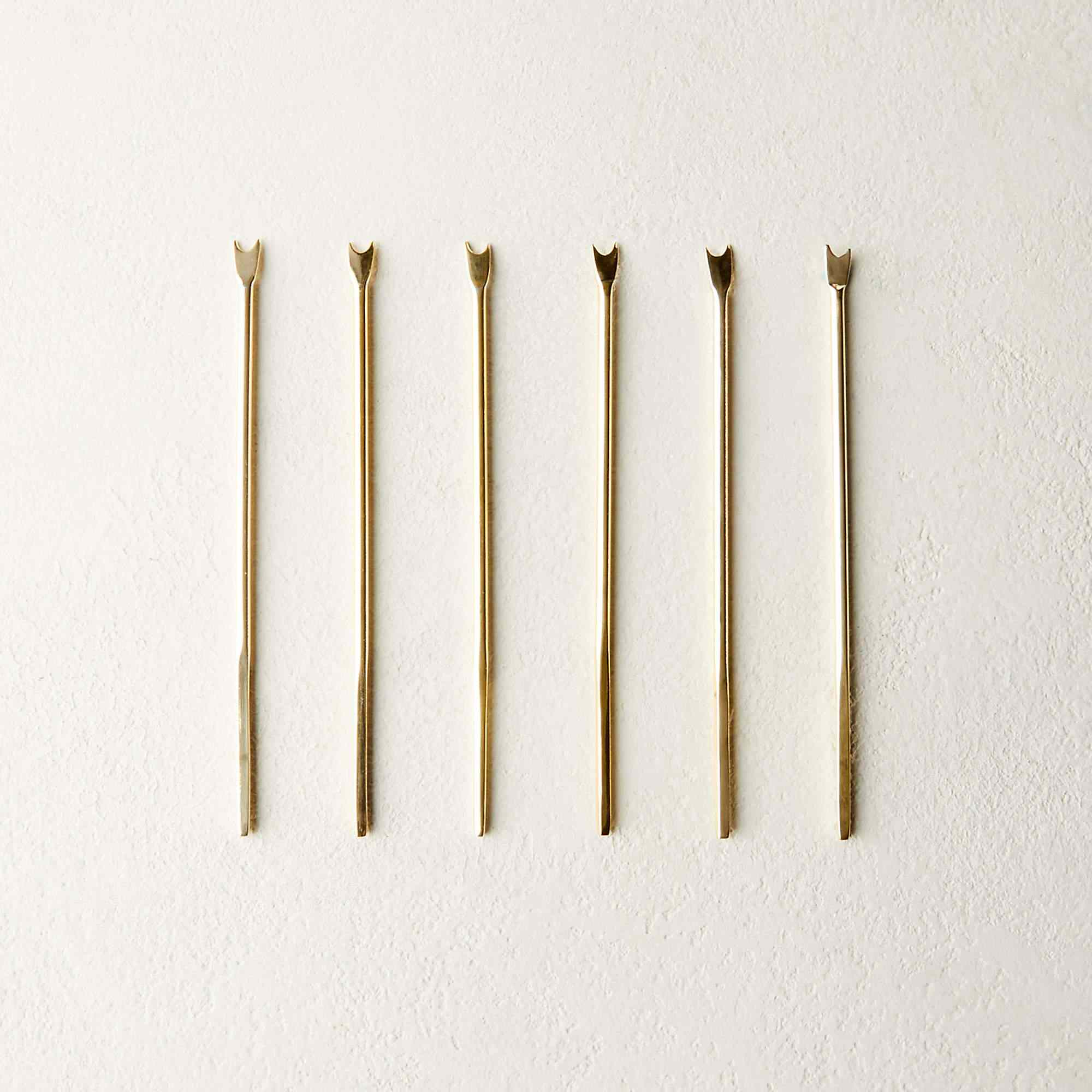 MAE CHAMPAGNE GOLD COCKTAIL PICKS SET OF 6