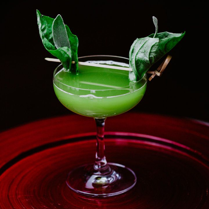 On a dark red black and black ground, a large coupe glass holds a pale green drink. On both sides of the glass are a basil leaf wrapped around a sage leaf, giving the appearance of Yoda's ears. They're held on by a long wooden pick.