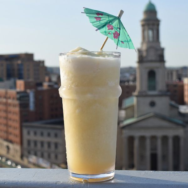 montego mule on a ledge, garnished with an umbrella