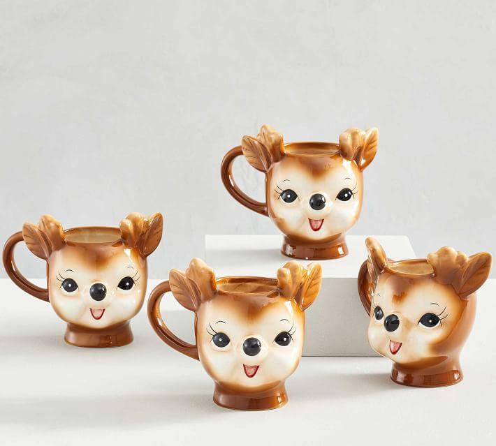 Cheeky Reindeer Shaped Handcrafted Ceramic Mugs