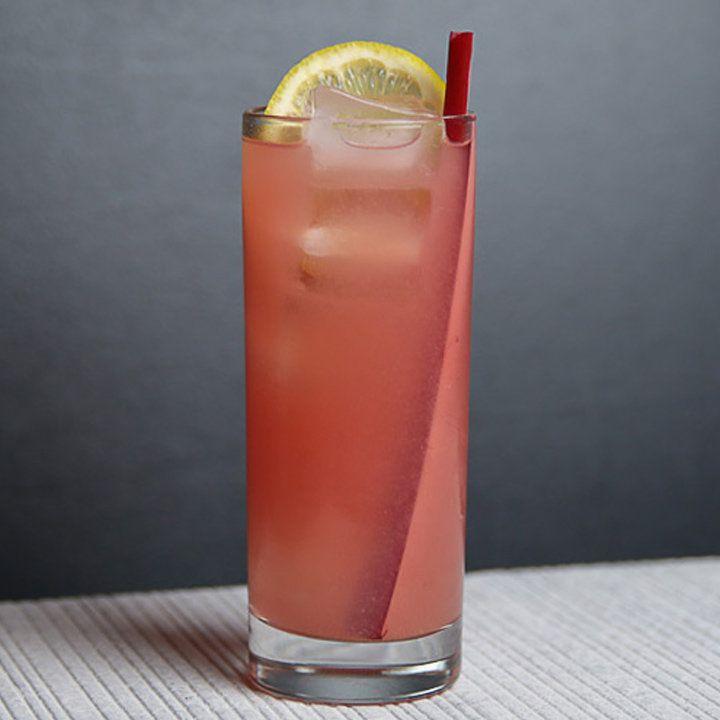rhubarb & strawberry collins cocktail