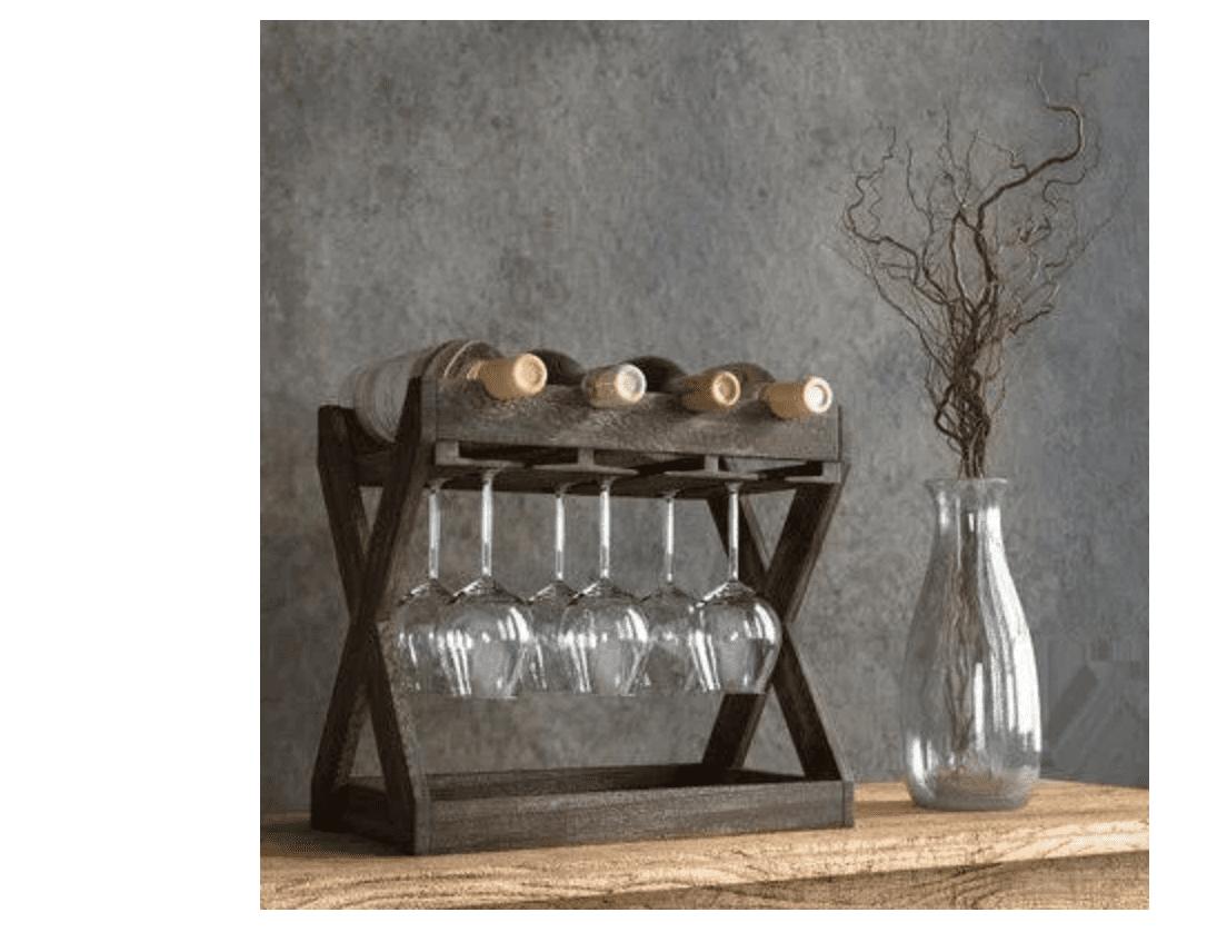 Gracie Oaks Selman Tabletop Wine Bottle & Glass Rack