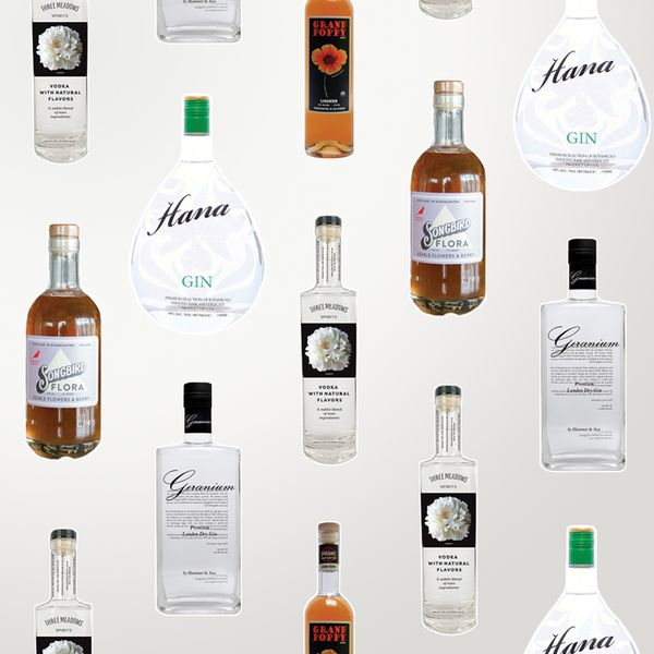 collage of floral spirits bottles on an off-white background