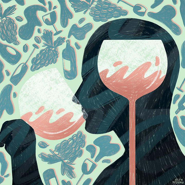 Wine drinking illustration