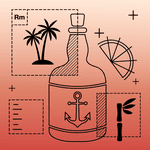 A graphic illustration on an orange gradient background featuring a liquor bottle with an anchor on the label, three tiles signifying palm trees, labeling and sugarcane