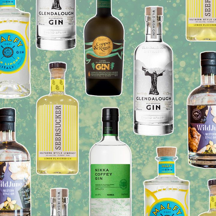 a collage of bottles of unusual gins