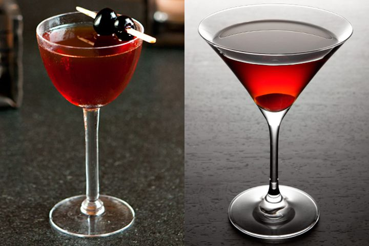 A photo of a Rob Roy garnished with two brandied cherries next to a photo of a Manhattan, served up with a cherry