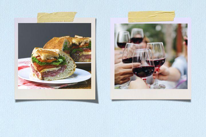 Sandwich on Sourdough and Chianti