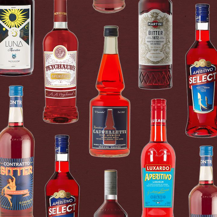 Bitter red liqueur bottles