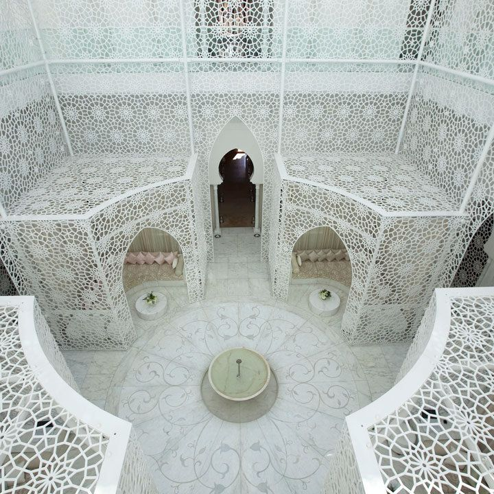 Royal Mansour spa in Marrakech, with gorgeous white open-tiled structures