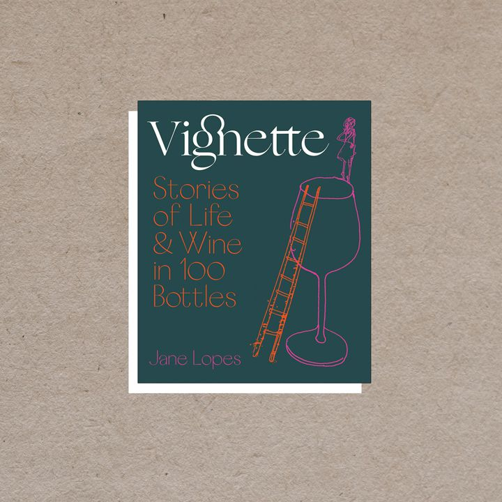 Vignette cover, dark teal with white, orange, and purple text alongside a purple and orange illustration of a ladder against a glass of wine and a girl standing on the rim