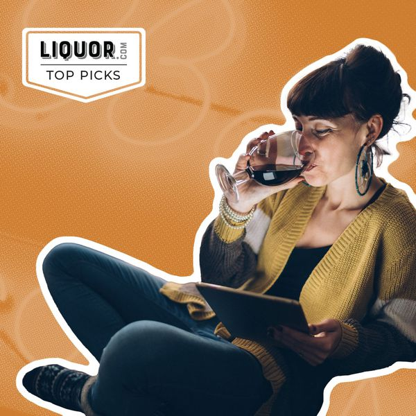 Photo composite of a woman drinking wine scrolling on a tablet.