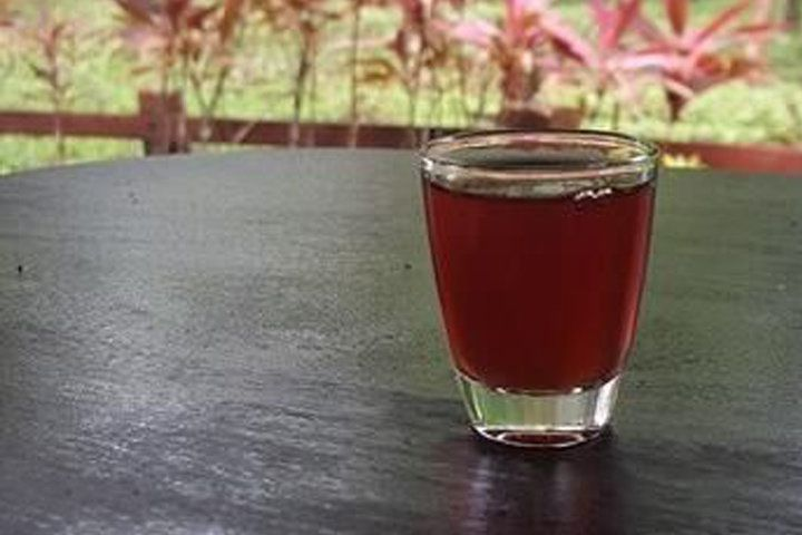 A small, clear glass filled with dark amber Mamajuana on a wood table with tropical leaves in the background