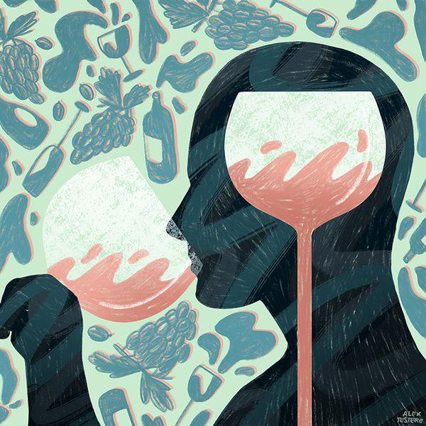 Wine drinking illustration