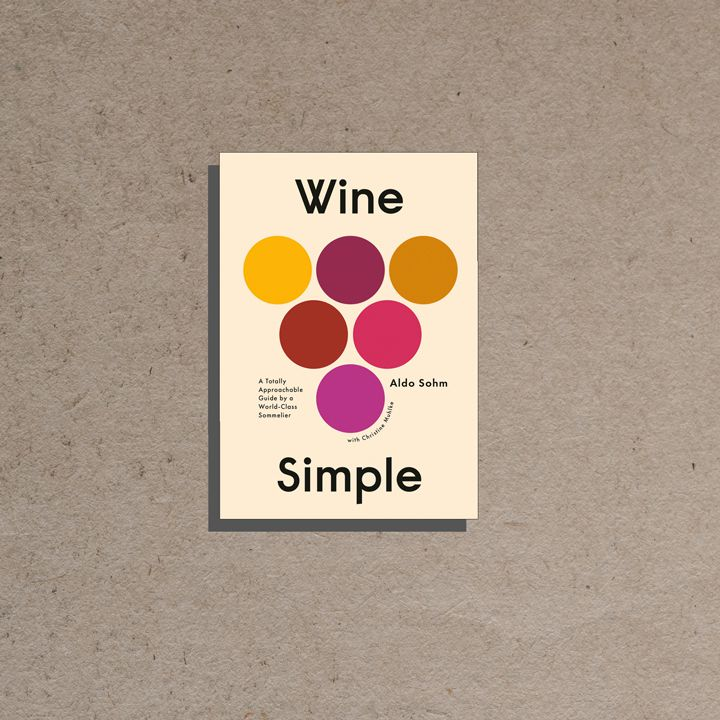Wine Simple cover, off-white background with large black sans serif text around a graphic of six multicolored circles in the shape of a grape bunch