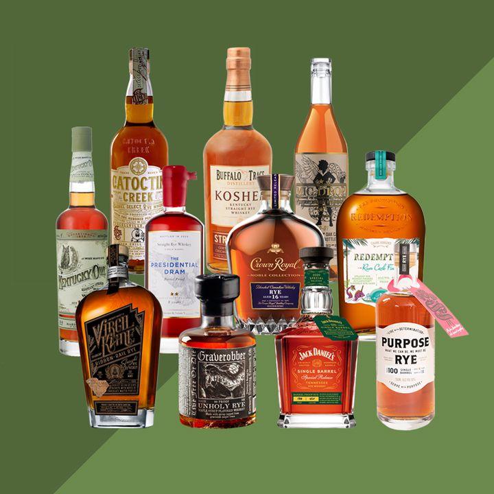 Rye whiskey bottles