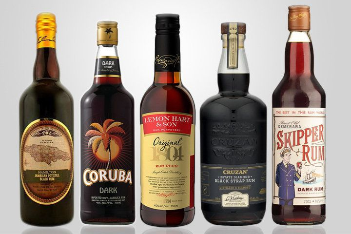 A lineup of black rums against a white background