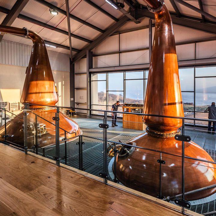 Ardnahoe Distillery with two massive stills