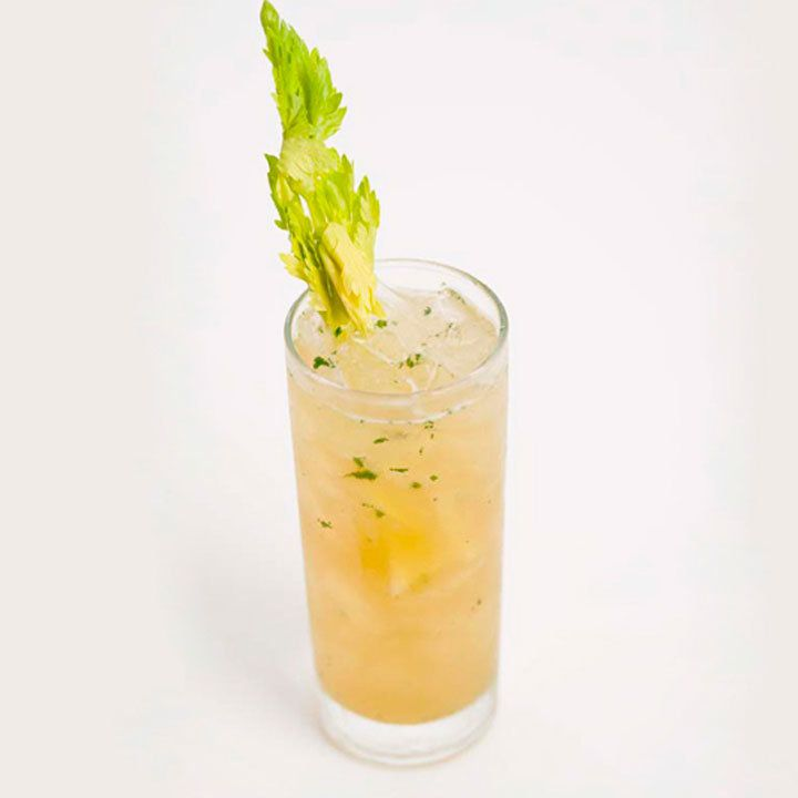A thin Collins glass is set against a pale rose backdrop. The glass is filled with a pinkish-orange drink with flecks of green, and is garnished with a prominent sprig of celery.
