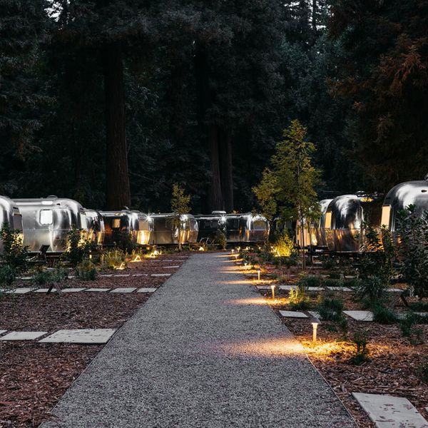 AutoCamp at Russian River, with view of Airstream trailers