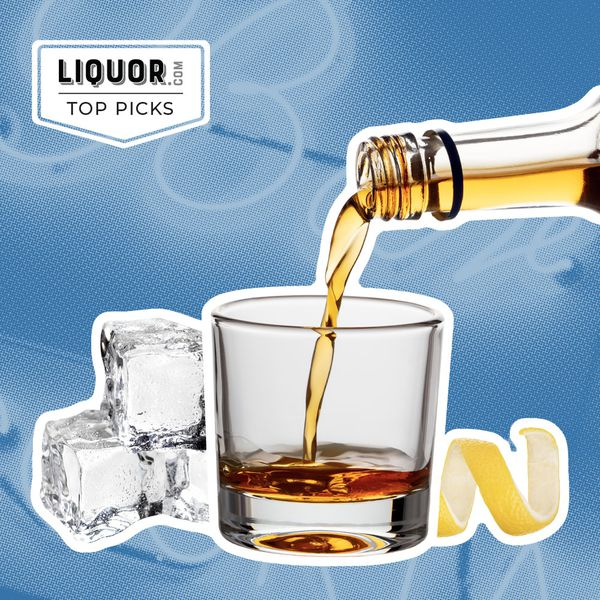 Photo composite of a lowball glass with ice, brown liquor, and a lemon peel.