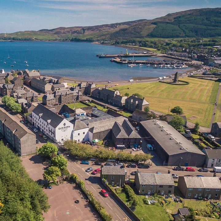 an aerial view of Glen Scotia Distillery