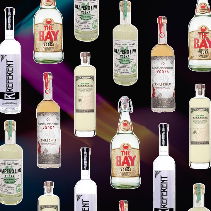 a collage of bottles of spicy vodka