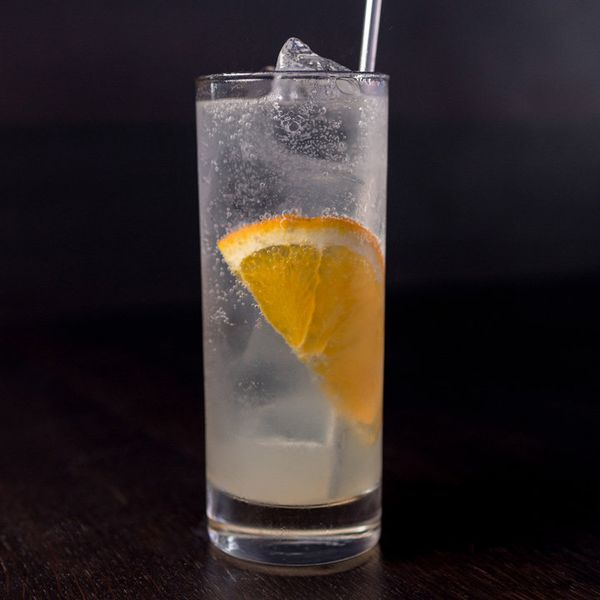 On a dark backdrop, a highball glass holds a metal straw, a slice of orange, a number of ice cubes and a bubbly clear gin drink.