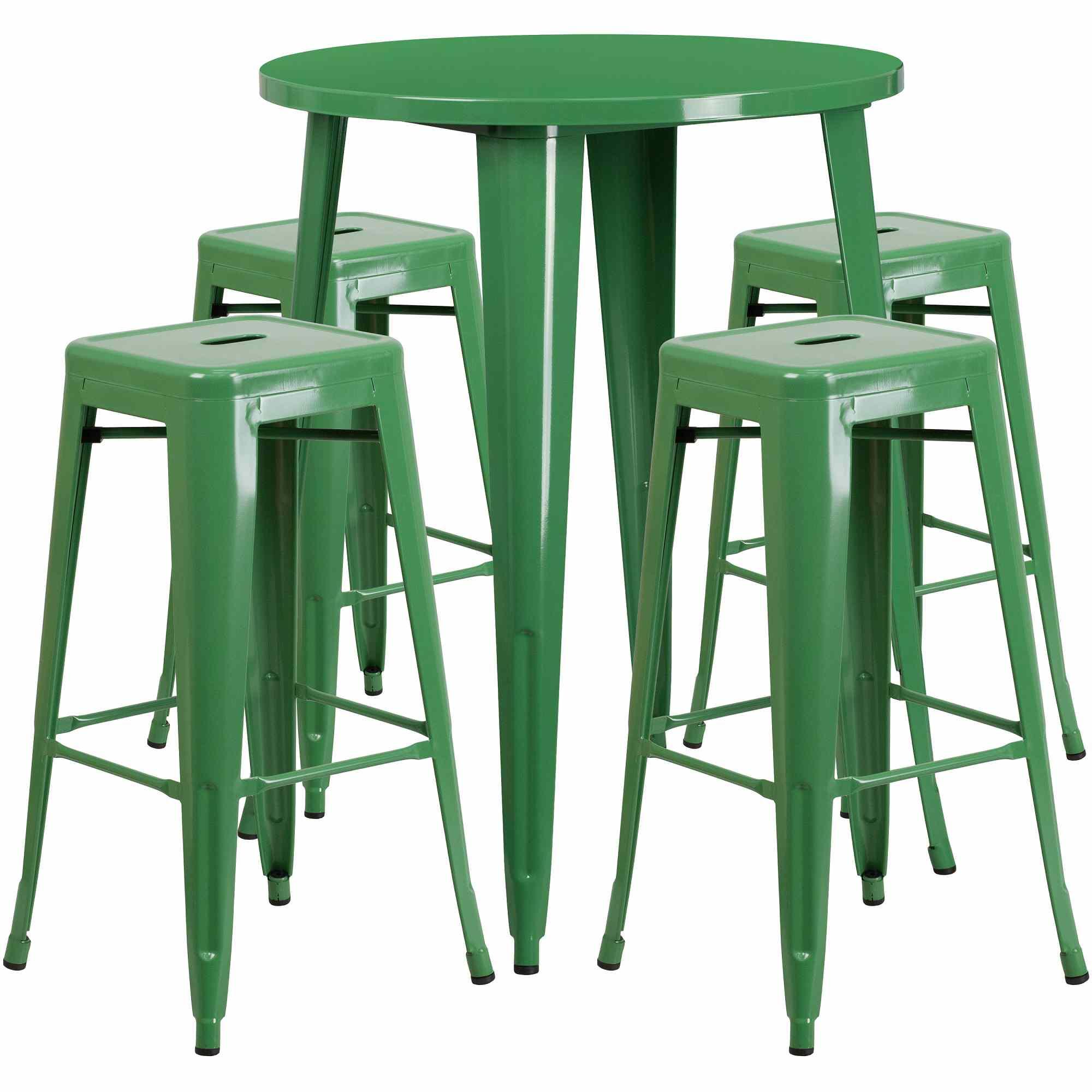 Flash Furniture Round Metal Indoor-Outdoor Bar Table Set