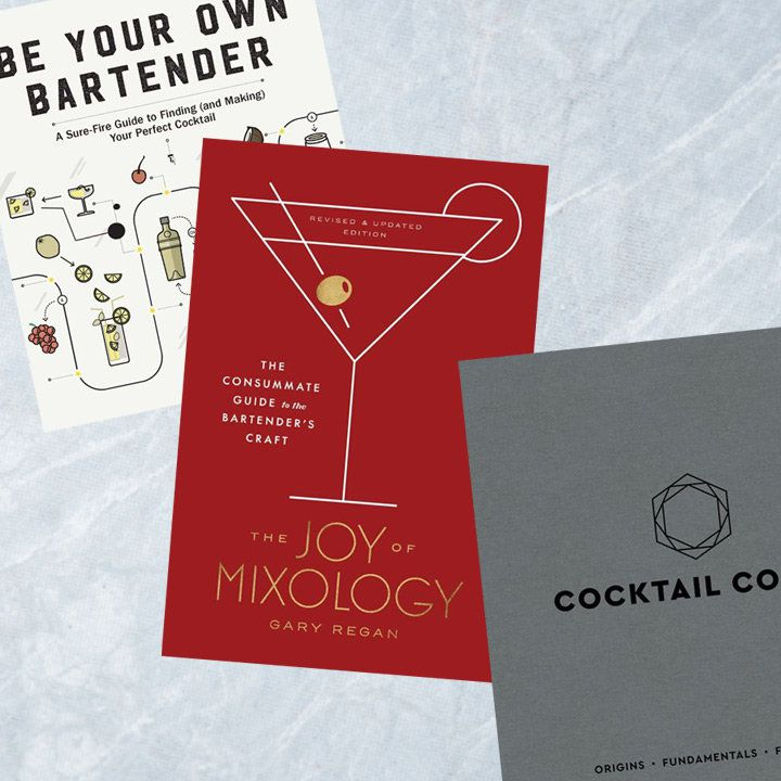 Visual cocktail books composite. Three titles against textured light gray background
