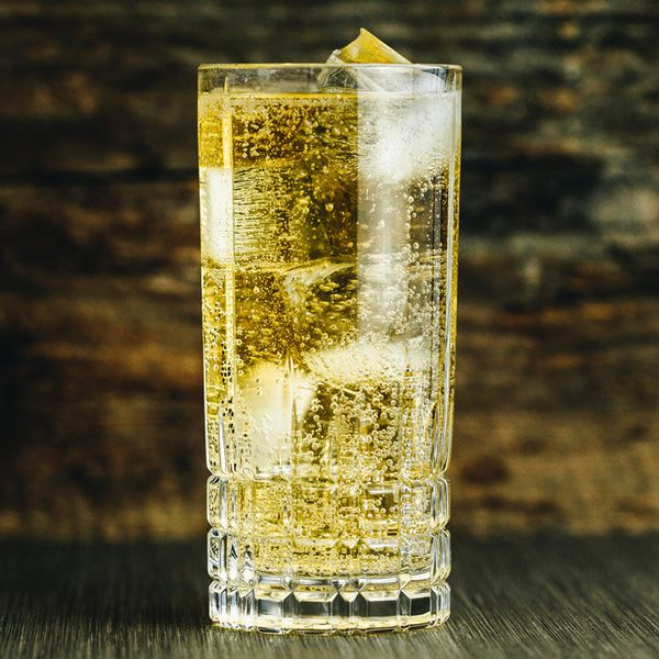 scotch and soda cocktail in a highball glass with ice
